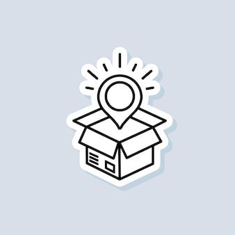 Bezorgservice sticker. snelle levering vrachtwagen pictogrammen met doos. express levering logo. vector op geïsoleerde achtergrond. eps-10.