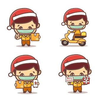 Bezorgservice tijdens kerst nieuw normaal. koerier met beschermende maskers levert goederen en voedsel, motorrijden