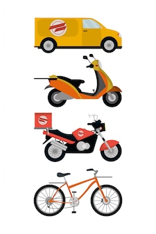 Bezorgservice voertuigen vector illustrator