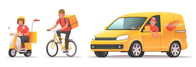 Bezorgservice voor eten en goederen online bestellen tracking mobiele applicatie koerier rijdt scooter