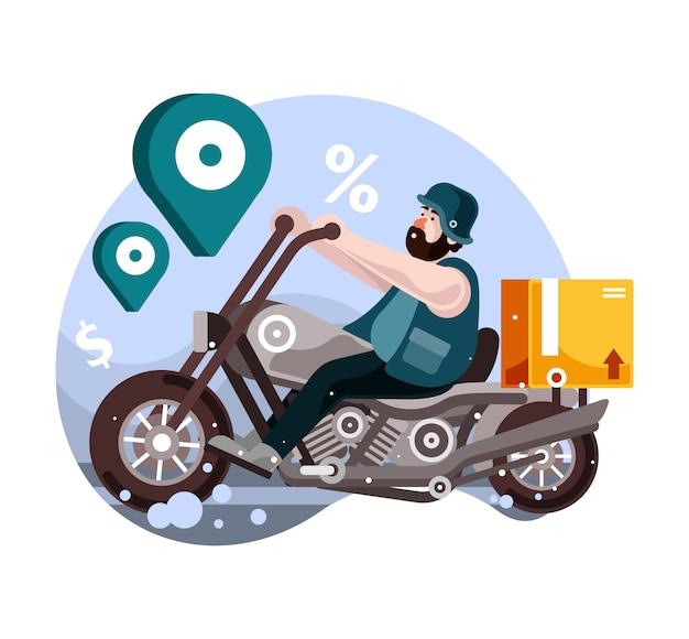 Bezorgservice voor motorfietsen Premium Vector