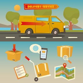 Bezorgservice. vrachtwagen met verzameling elementen: containers, controlelijst, kaart.