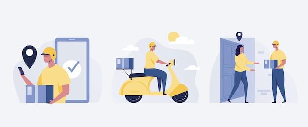 Bezorgservice. vrouw die pakket ontvangt van koerier voor de deur. illustratie.