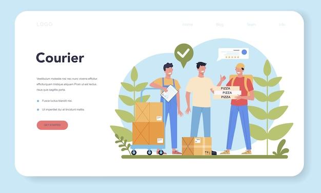 Bezorgservice webbanner of bestemmingspagina. koerier in uniform met doos van de vrachtwagen. online eten bezorgen. goederen bestellen op internet. express logistiek concept.