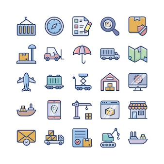 Bezorgservices, verzending en logistiek plat pictogrammen pakket