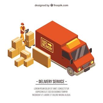 Bezorgwagen en dozen met isometrische stijl