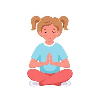 Bgirl mediteert in lotushouding gymnastiekyoga en meditatie voor kinderen vectorillustratie