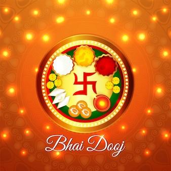 Bhai dooj viering wenskaart met pooja thali