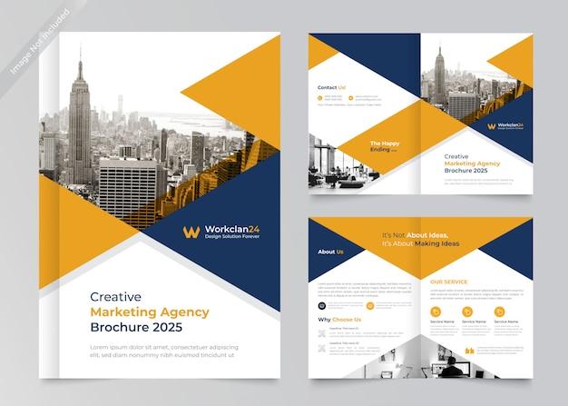 Bi-fold brochure design premium