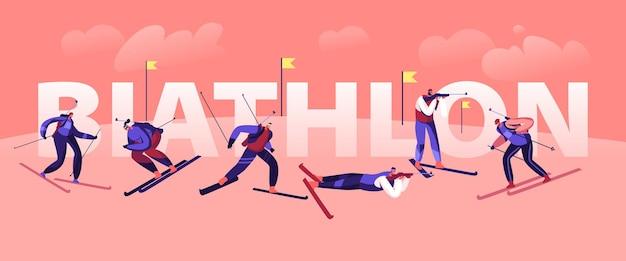 Biatlon toernooi concept. sporters en sportvrouwen skiën en schieten door doelen op de baan, wereldbeker olympische spelen kampioenschap poster banner flyer brochure. cartoon platte vectorillustratie