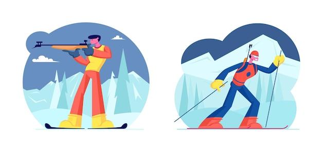 Biatlon wedstrijdset. concurrent staat op schietbaan en richt zich op richten, schieten en jagen. sportvrouw rijden ski's op route. wereldbeker toernooi. cartoon platte vectorillustratie