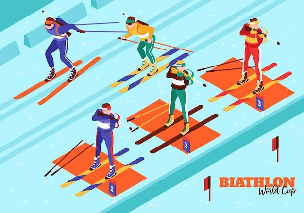 Biatlon wereldbeker illustratie