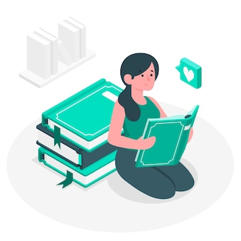 Bibliofiel concept illustratie