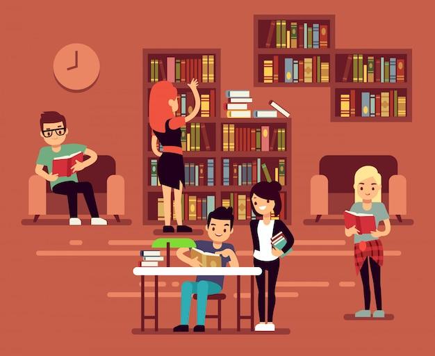 Bibliotheca, het binnenland van de schoolbibliotheek met studenten vectorillustratie