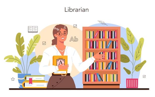 Bibliothecaris bibliotheekpersoneel catalogiseert en sorteert boeken