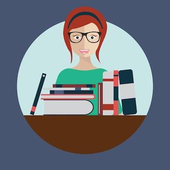 Bibliothecaris vrouw met boeken