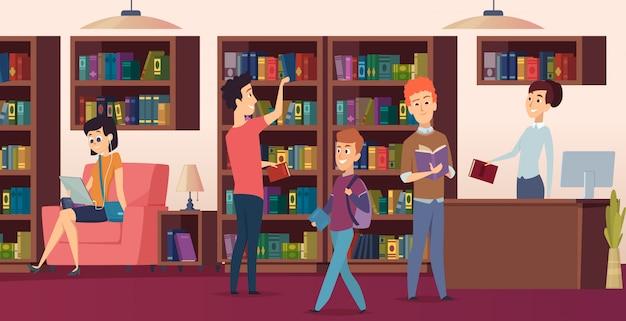 Bibliotheek achtergrond. boekenplanken in schoolbibliotecastudenten kozen voor boekenfoto's