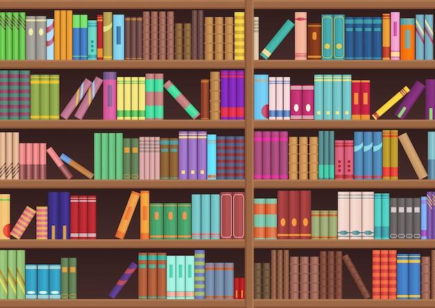 Bibliotheek boekenplank literatuur boeken cartoon achtergrond.