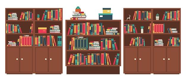 Bibliotheek boekenplanken kamer. boekstapels in houten meubelen. diverse boeken in boekenplank staan en liggen, kleurrijke covers, houten kast om te studeren en te leren, klassieke interieur vectorillustratie