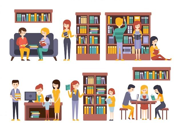 Bibliotheek en boekhandel met mensen die boeken kiezen