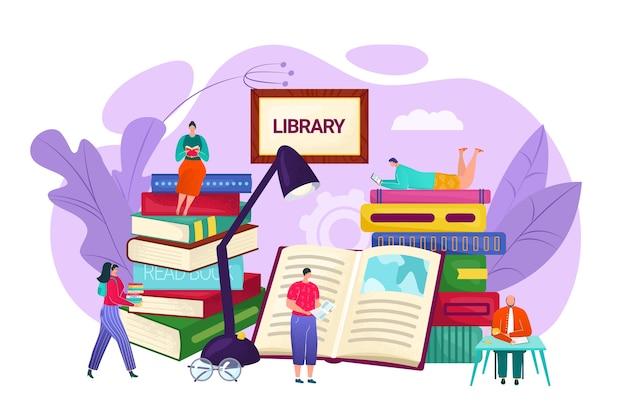 Bibliotheek en kennisconcept, illustratie. kleine mensen die op boekenplanken zitten die boeken lezen. onderwijs en studie, literatuur leren. lezers van de universiteitsbibliotheek.
