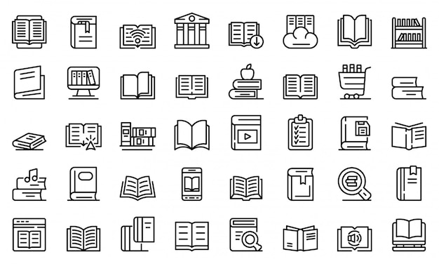 Bibliotheek iconen set