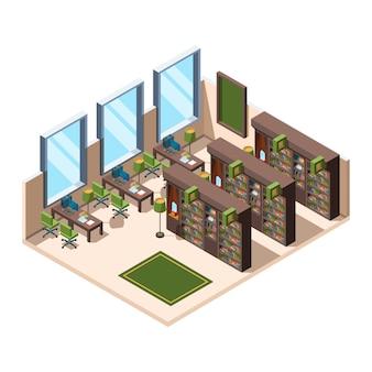 Bibliotheek interieur. universitaire schoolruimte met boekenplanken bibliothecaris campus isometrisch gebouw