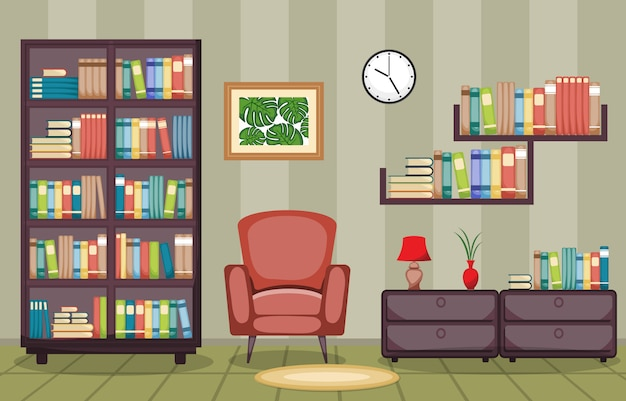 Bibliotheek kamer interieur stapel boeken over boekenplank plat ontwerp
