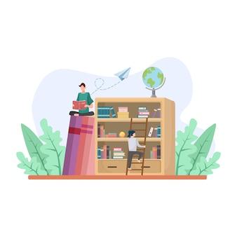 Bibliotheek met studentenleesboek in plat ontwerp