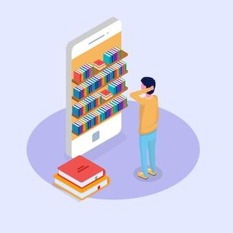 Bibliotheek mobiel online isometrisch concept. micro-mensen die boeken lezen. vector illustratie.