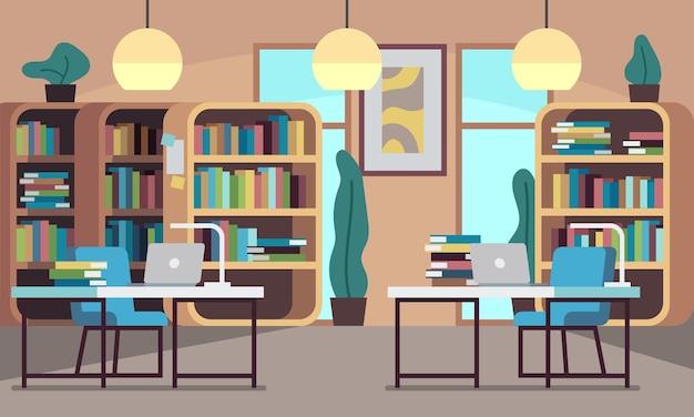 Bibliotheek of openbare leeszaal met boekenkast, boekenplanken, houten bureaus, stoelen en computers