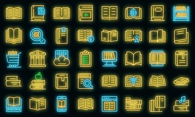 Bibliotheek pictogrammen instellen. overzicht set bibliotheek vector iconen neon kleur op zwart