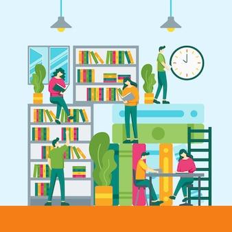Bibliotheek vector vlakke stijl illustratie.