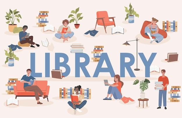 Bibliotheek woord vector platte poster ontwerp mensen zitten en studeren