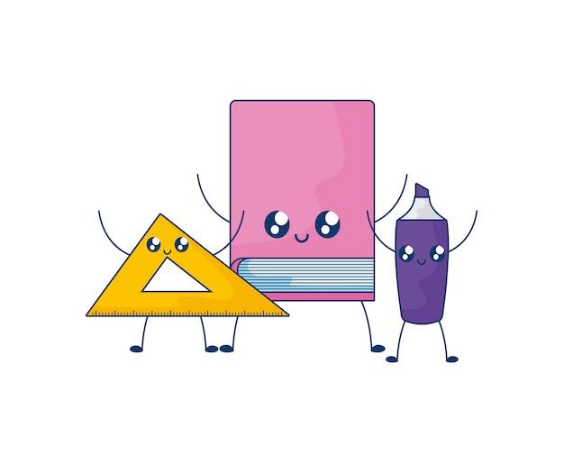 Bibliotheekboek met regel en markeerstift kawaiistijl