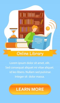 Bibliotheekcatalogus mobiele app-schermsjabloon