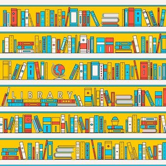 Bibliotheekscèneillustratie in vlakke lijnstijl