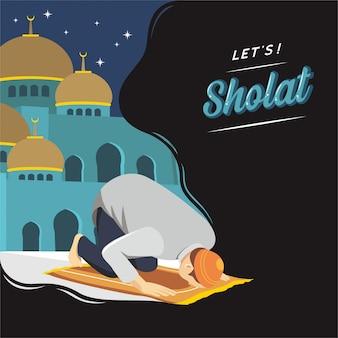 Bid en sholat met islamitische illustratie