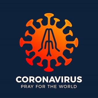 Bid voor de wereld coronavirus concept met handen tijd om te bidden corona virus 2020 covid-19. coronavirus in wuhan virus covid 19-ncp