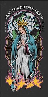 Bid voor moeder aarde gekleurde tattoo stijl illustratie