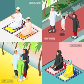 Bidden en wandelen arabische gezinnen met hun kinderen 2x2 isometrische ontwerpconcept 3d geïsoleerde vectorillustratie