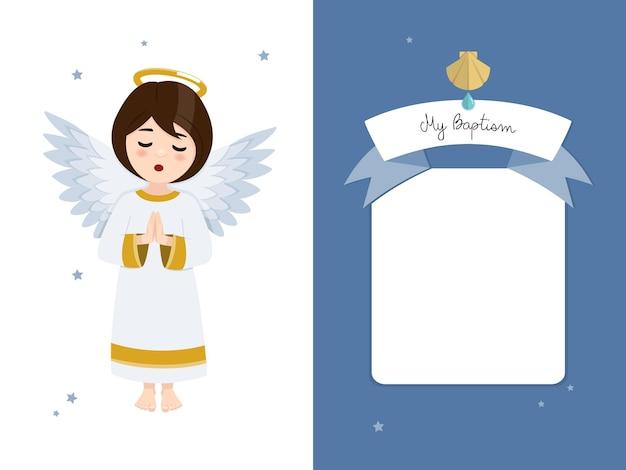 Biddende engel. doopsel horizontale uitnodiging op blauwe hemel en sterren uitnodiging.