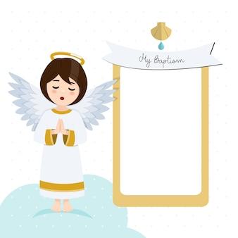 Biddende engel. doopseluitnodiging met bericht. flat vector illustratie