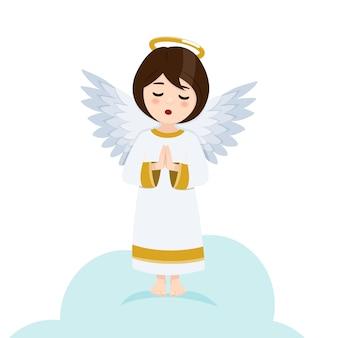 Biddende engel. geïsoleerde platte vectorillustratie