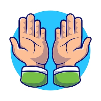 Biddende handen cartoon afbeelding