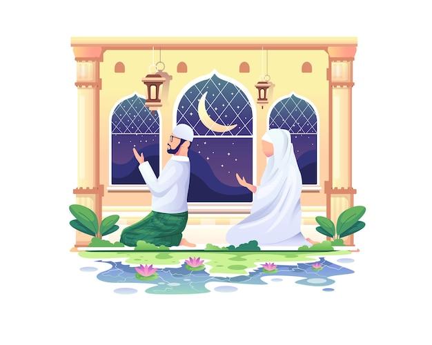 Biddende moslimpaar bij een moskee in ramadan kareem, gelukkige eid mubarak-illustratie