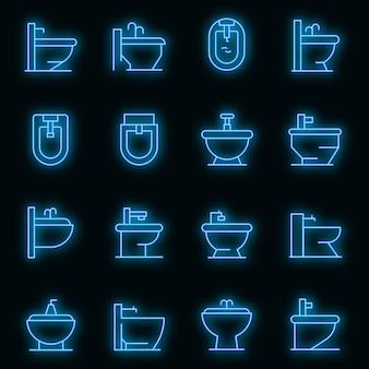 Bidet pictogrammen instellen. overzicht set bidet vector iconen neon kleur op zwart