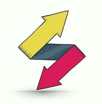 Bidirectionele pijlen op en neer richtingen bestaande