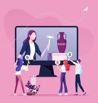 Bied veiling en koop online concept