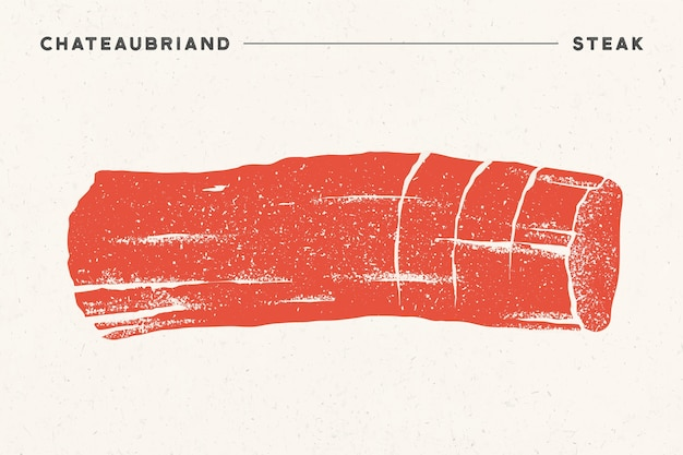Biefstuk, chateaubriand. poster met biefstuksilhouet, tekst chateaubriand, steak. logo typografie sjabloon voor vleeswinkel, markt, restaurant.